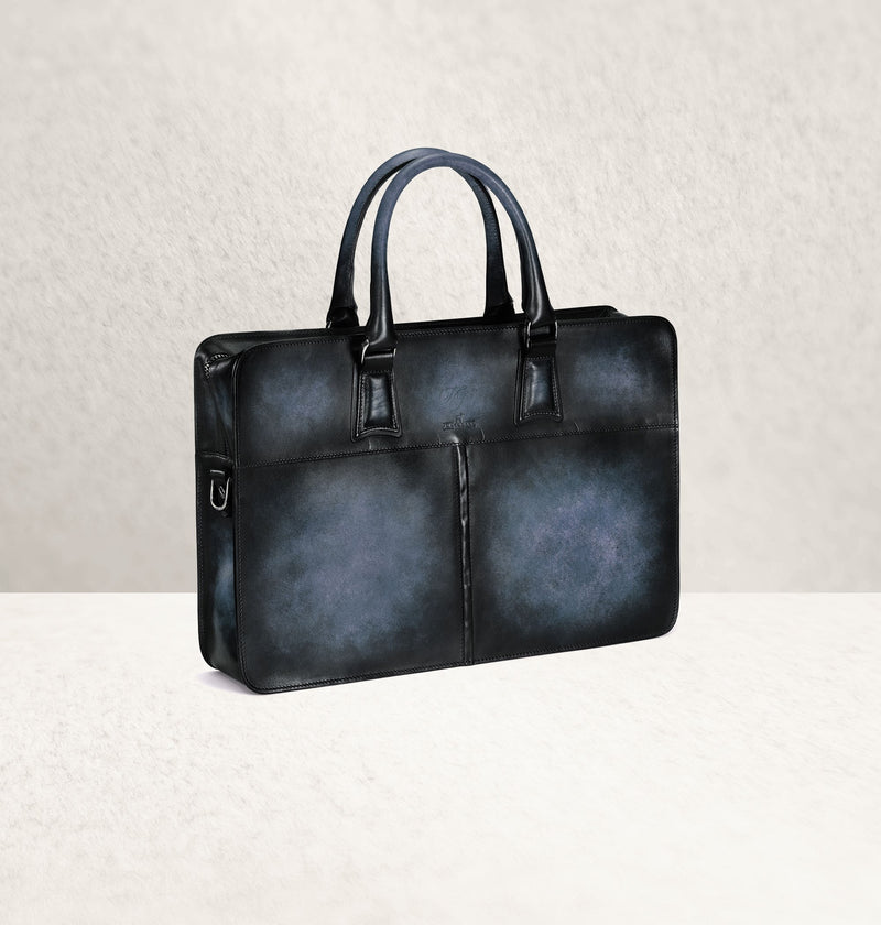 Diplomat Dapper Bleu Calf Leather Bag