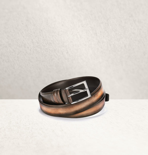 Ombré Calf Leather Marron Belt