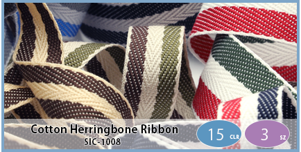 SIC-1008(Cotton Stripe Herringbone Ribbon)