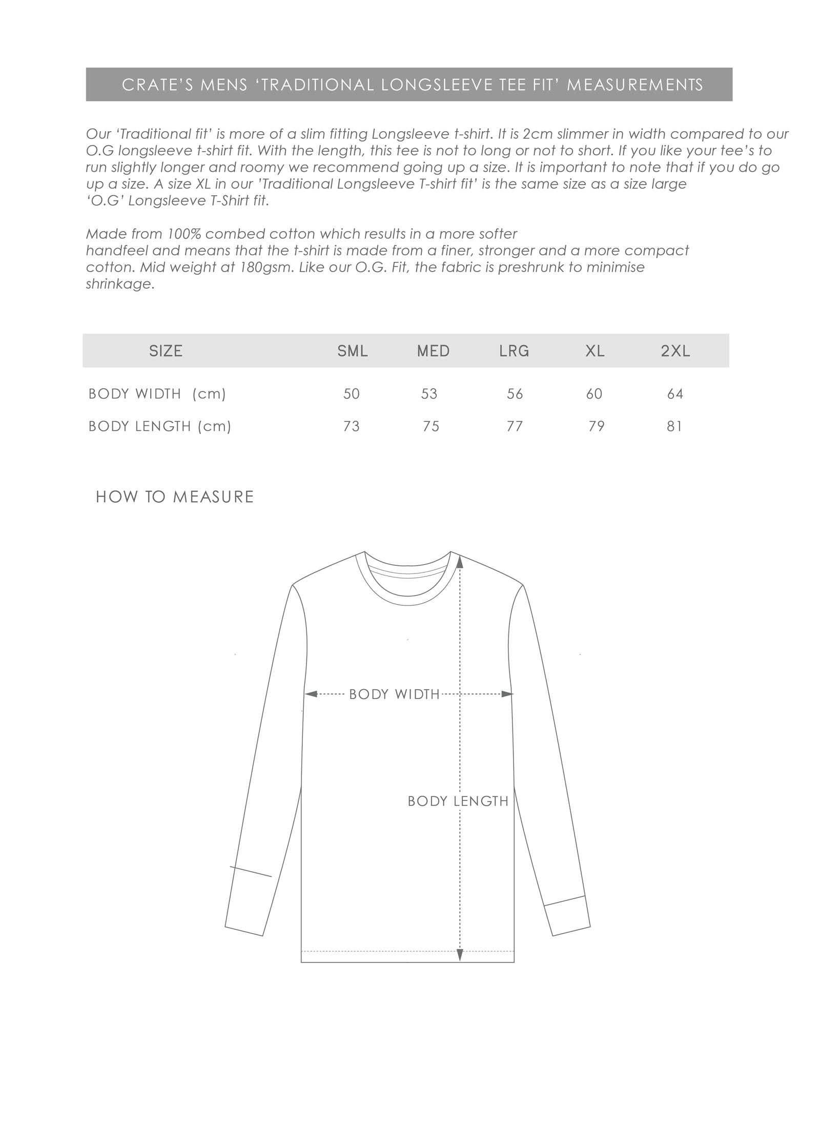 Size Guide - Mens Traditional Longsleeve T-Shirt