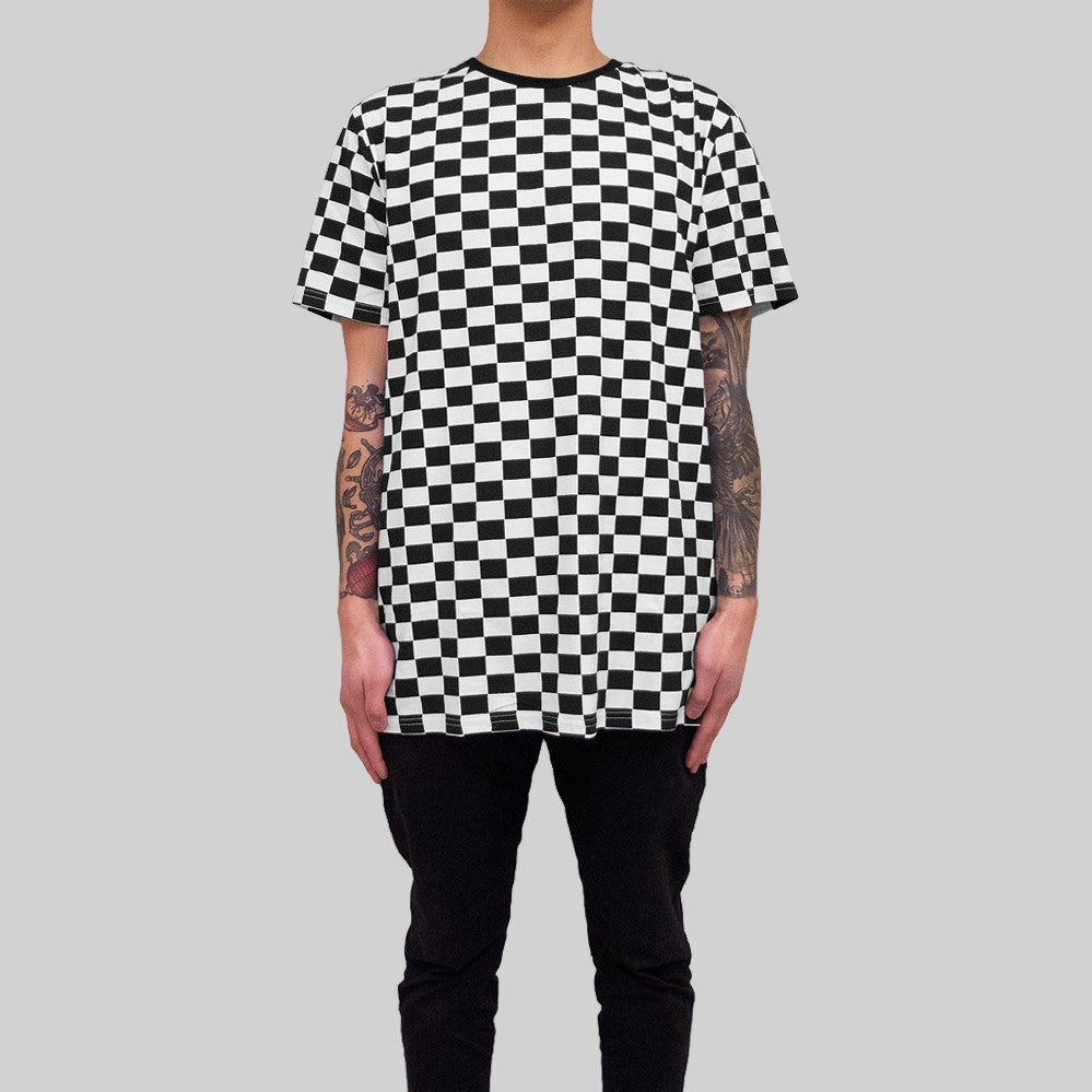 Mens Checkered T-Shirt White/Black