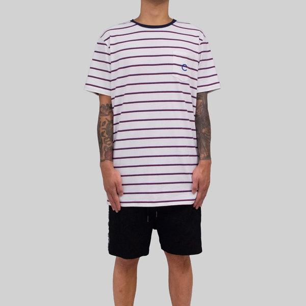 Mens Pocket Sailor T-Shirt White/Burgundy
