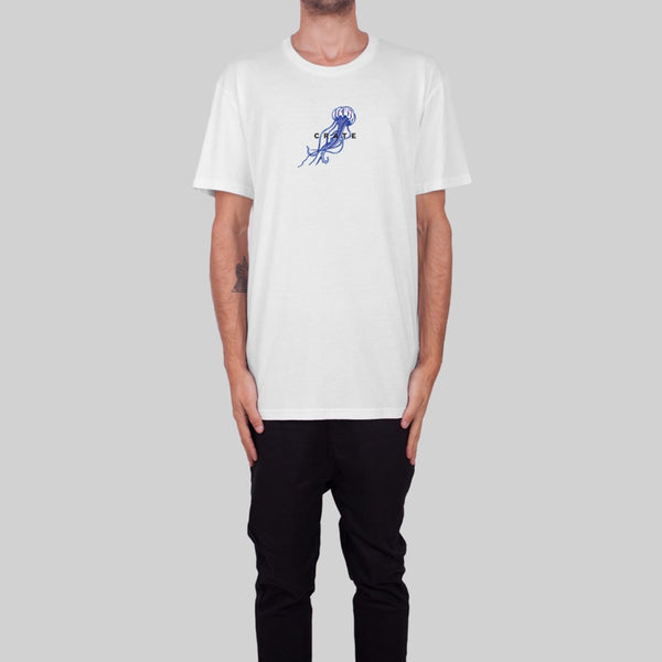 Mens Jellyfish Embroidery T-Shirt White