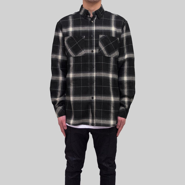Mens Flannel Long Sleeve Shirt Black