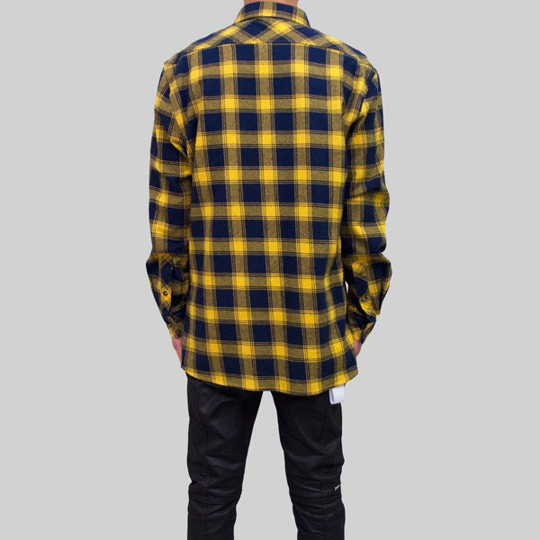 Mens Flannel Long Sleeve Shirt Yellow
