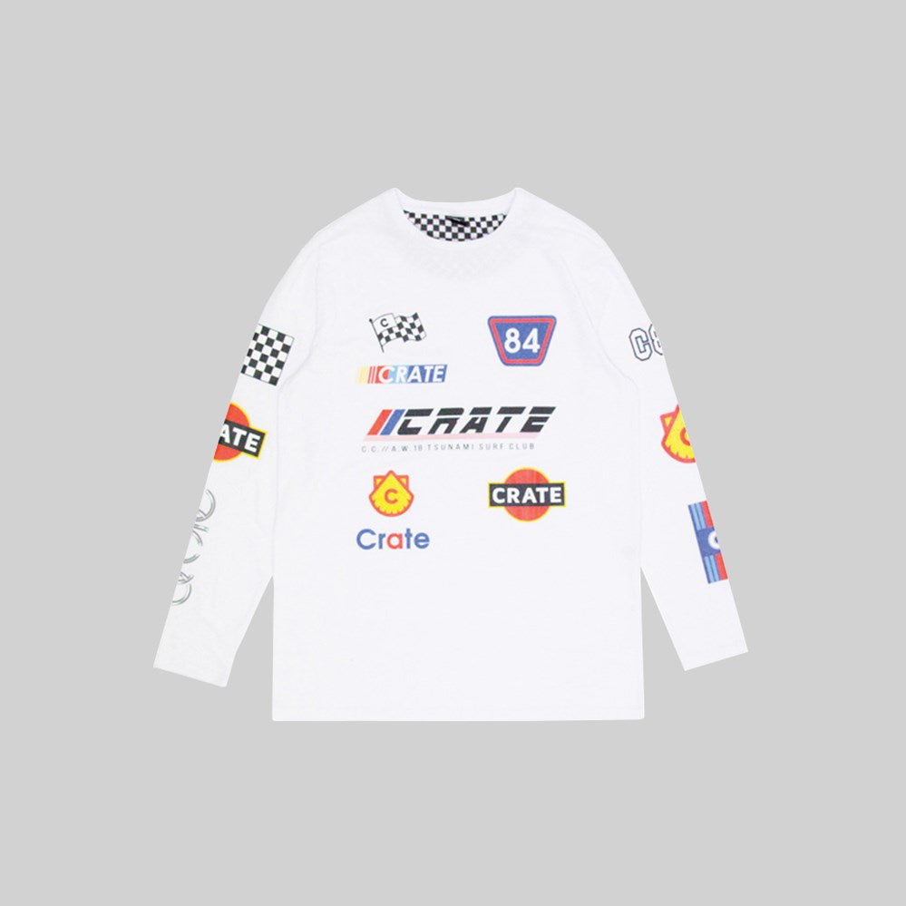 Mens Racing Team Long Seeve White