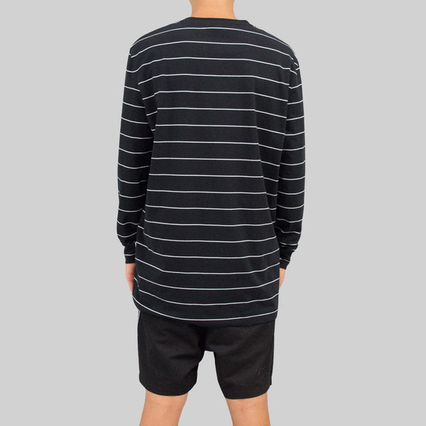 Mens Stripe Long Sleeve Black