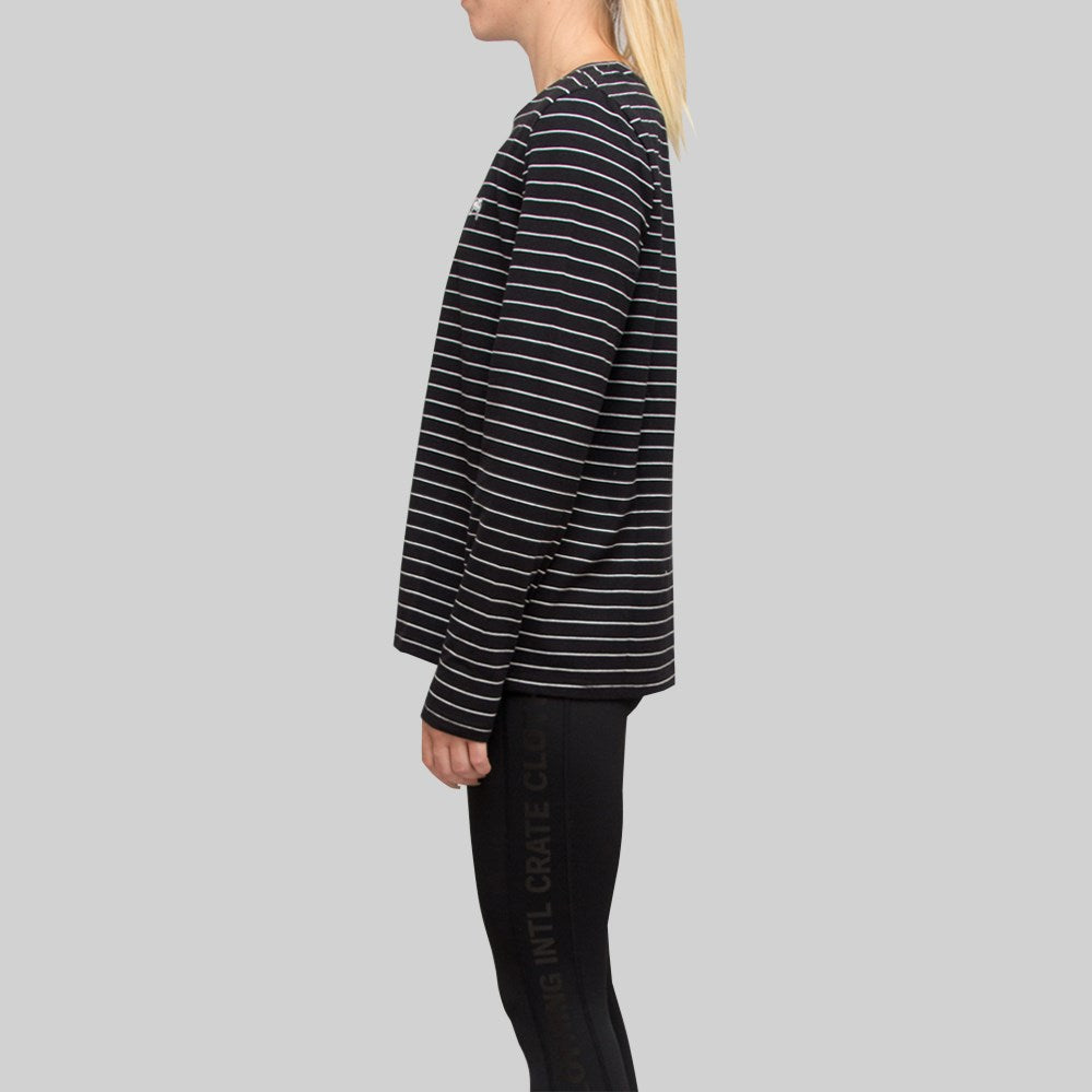 Womens Seasonal Stripe Long Sleeve Black/White