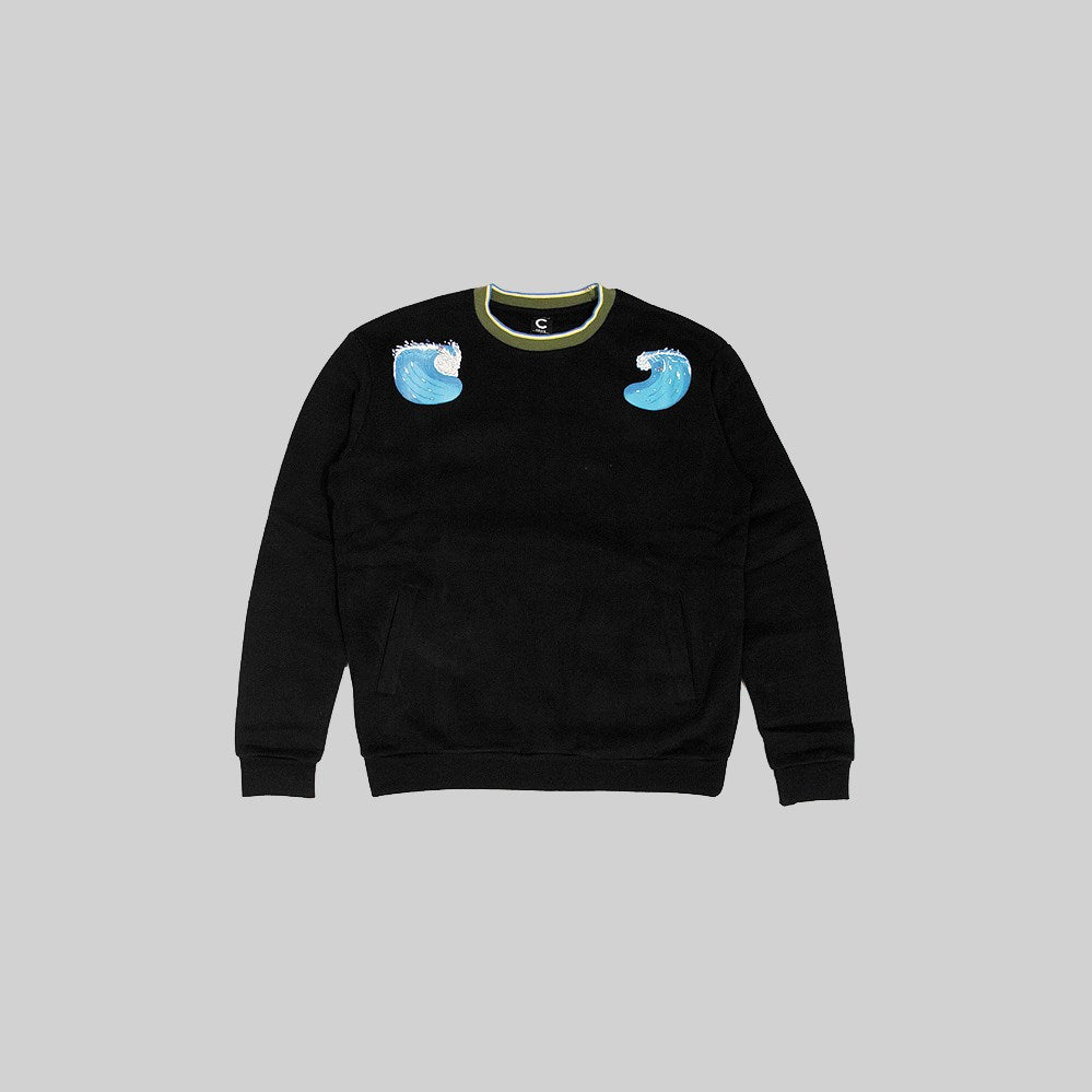 Mens The Waves Sweater Black