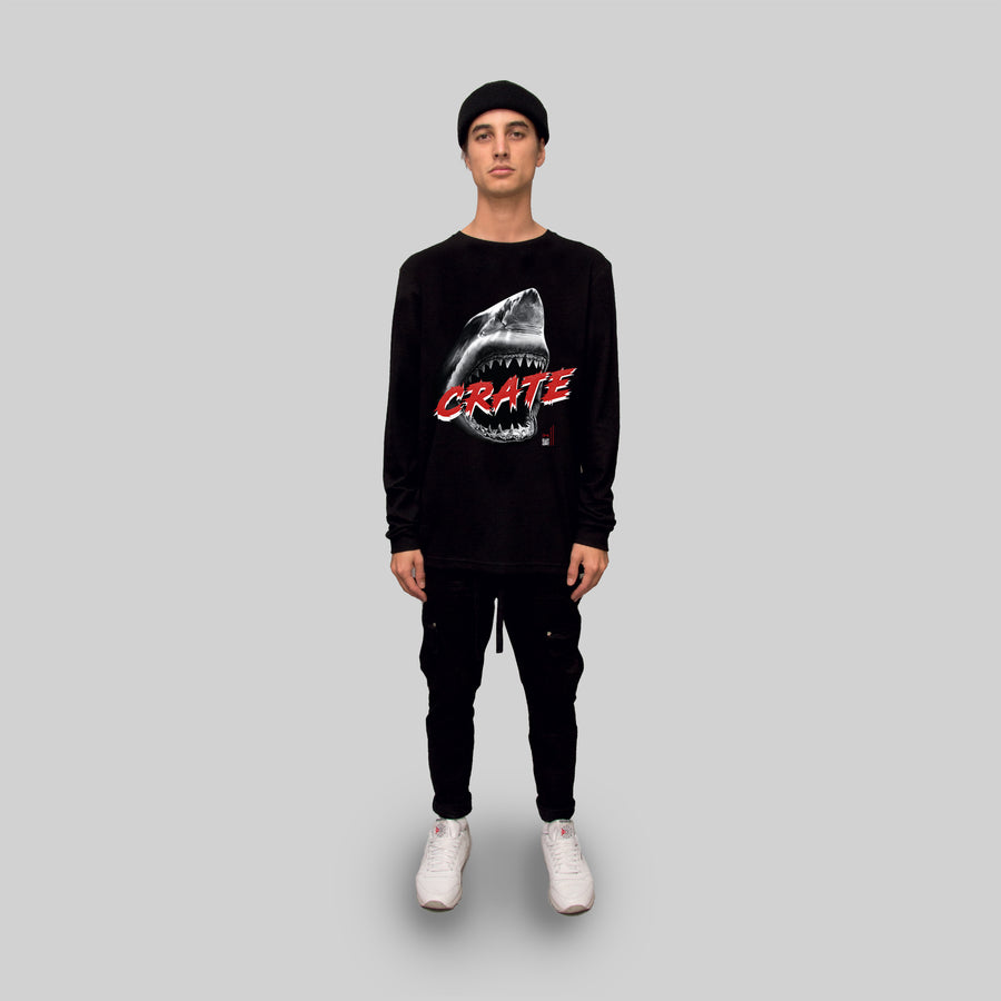 CRATE WHITE SHARK LONG SLEEVE TEE