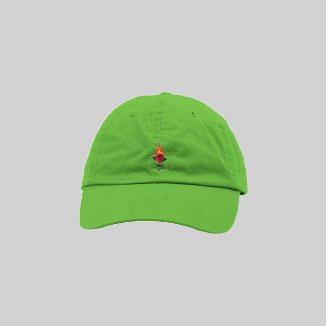 Unisex Burning Rose Cap Lime Green