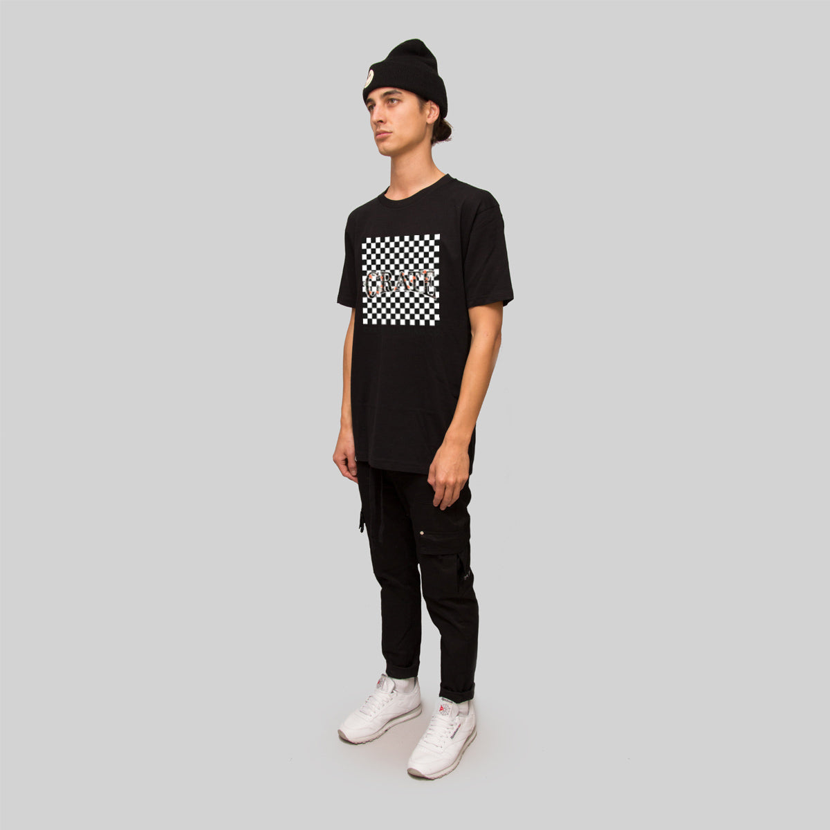 Mens Checkered Vine T-Shirt Black