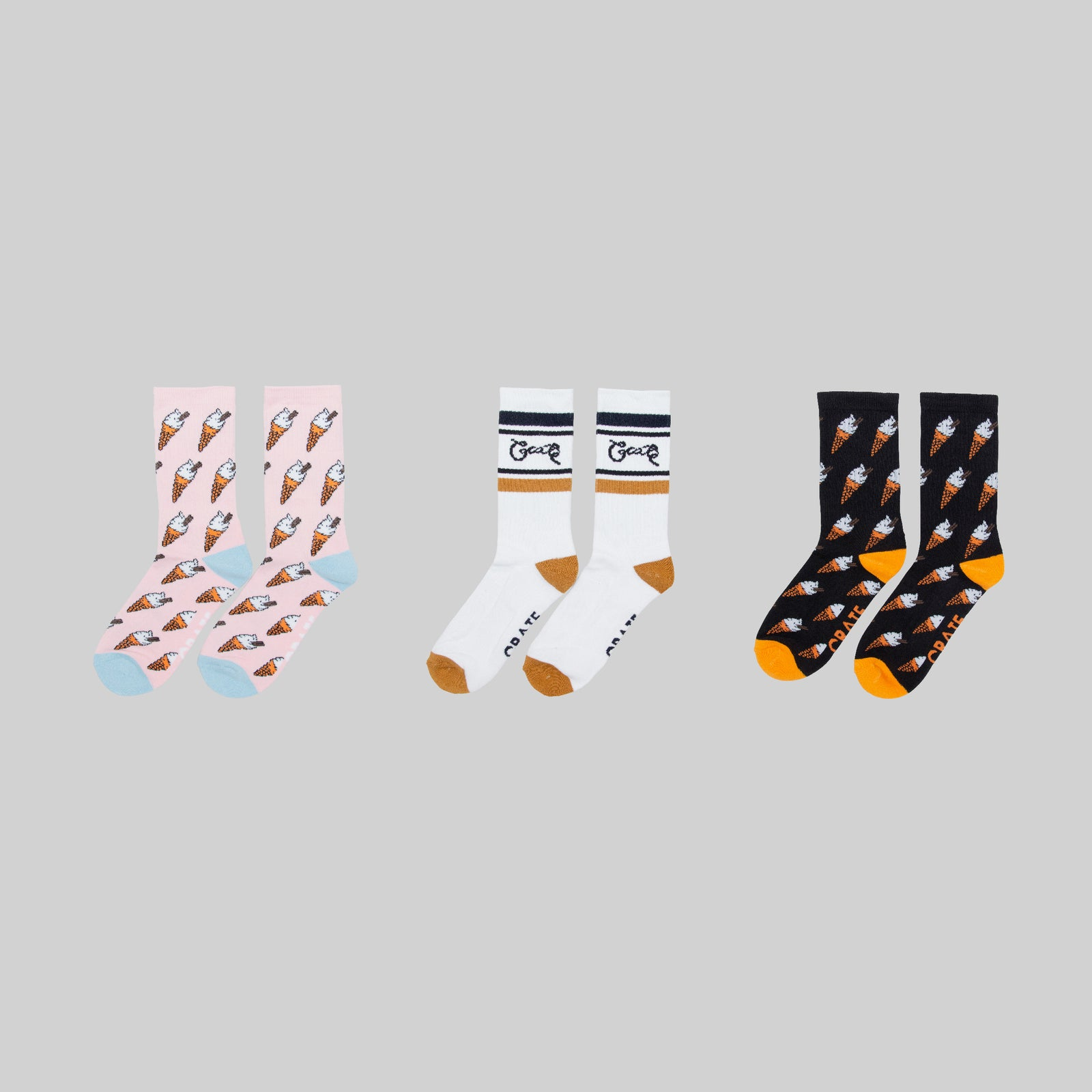 Crate With a Flake Socks 3 Pack