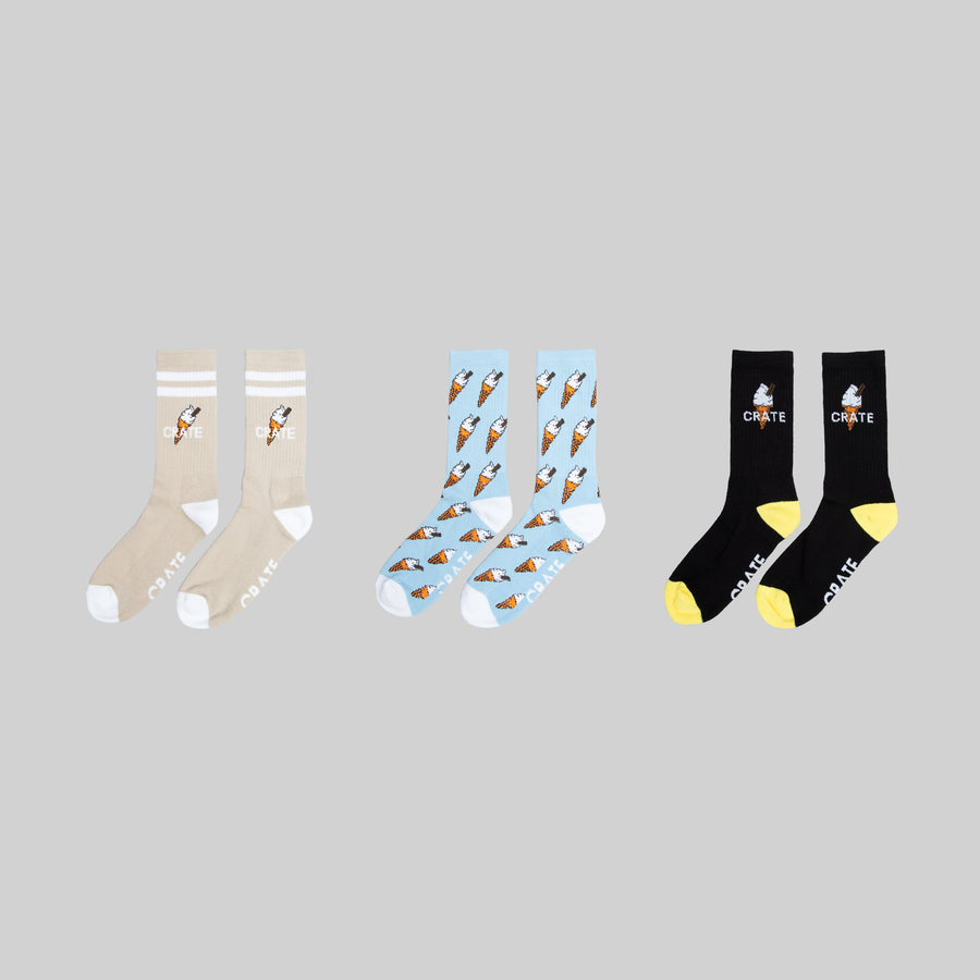 Cream 3 Pack Sock Bundle