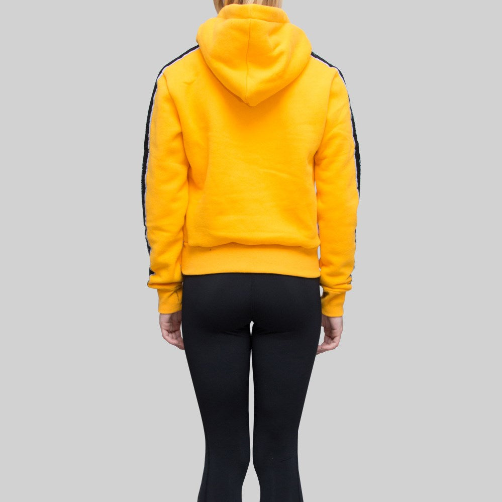 Womens Cropped Monogram Tape Hoodie Yellow