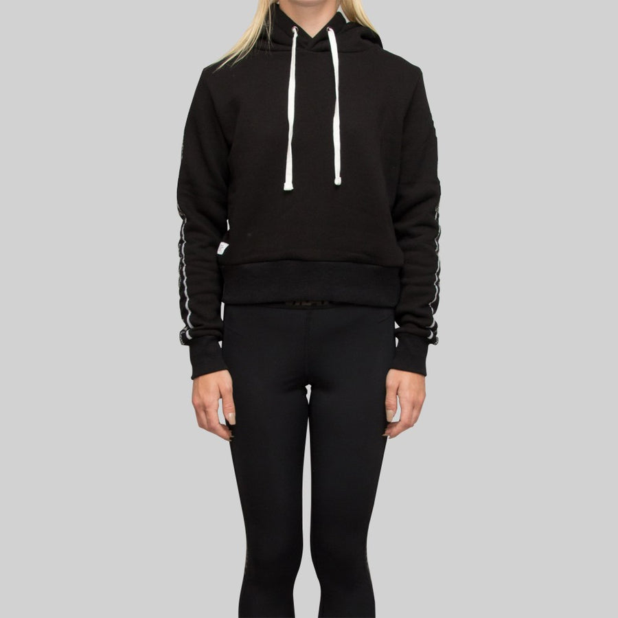 Womens Cropped Monogram Tape Hoodie Black