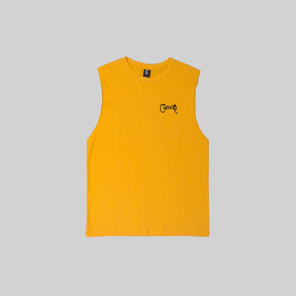 Mens Scripted Muscle Yellow