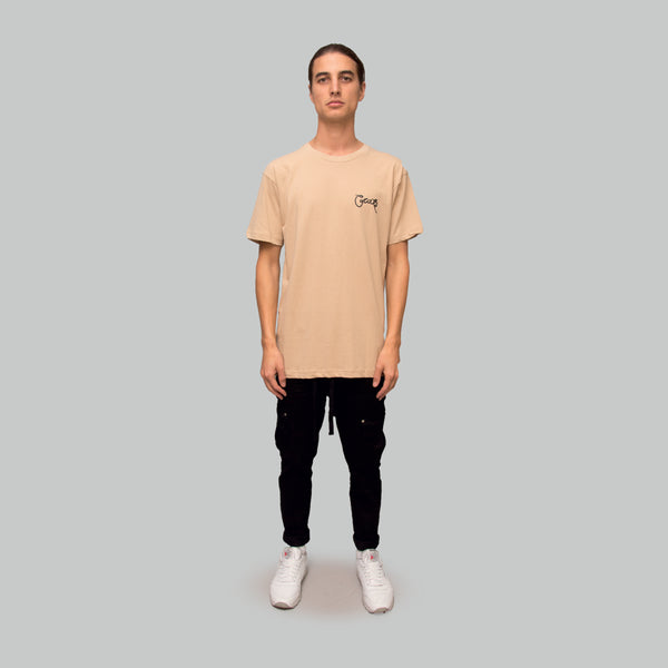 Mens Scripted T-Shirt Tan