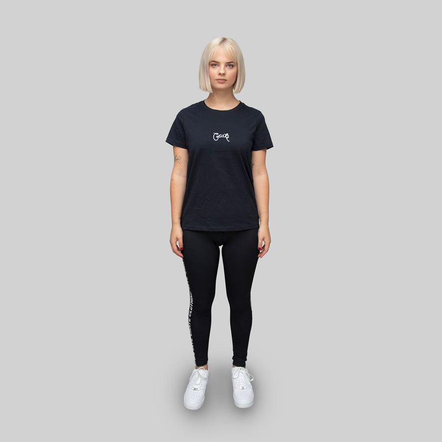 Womens Basic Scripted T-Shirt Navy