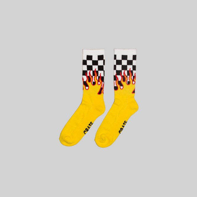 Unisex Checkered Flame Sock