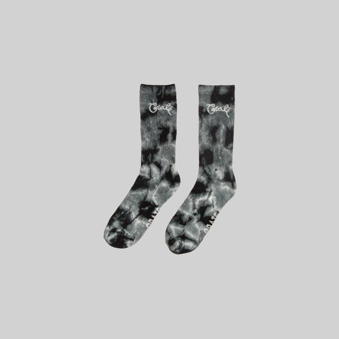 Unisex Scripted Tie Dye Sock Black