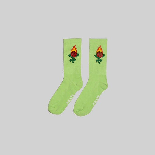 Unisex Burning Rose Sock Green