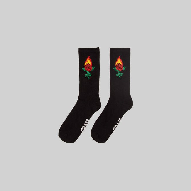 Unisex Burning Rose Sock Black