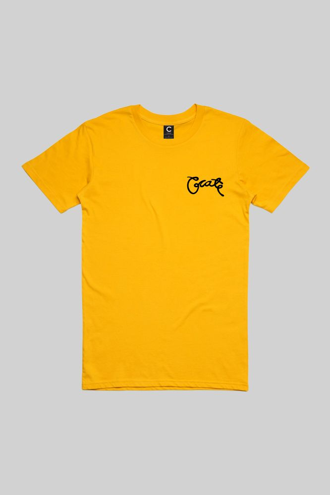 Mens Scripted T-Shirt Yellow/Blk