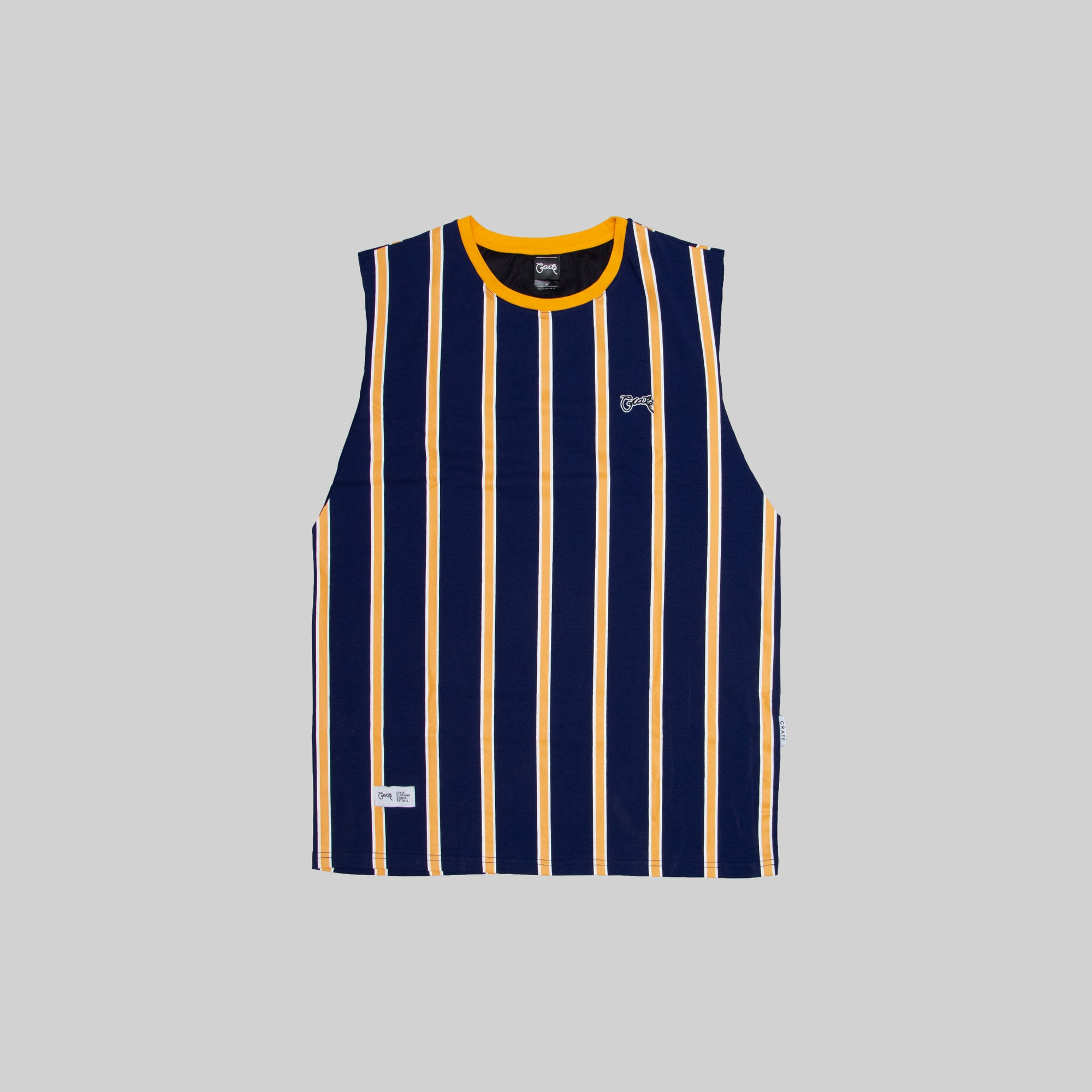 Mens Navy/Gold Stripe Muscle T-Shirt