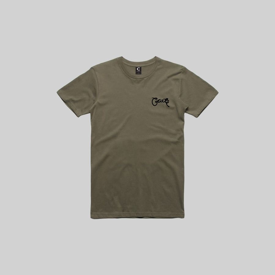 Mens Scripted T-Shirt Khaki