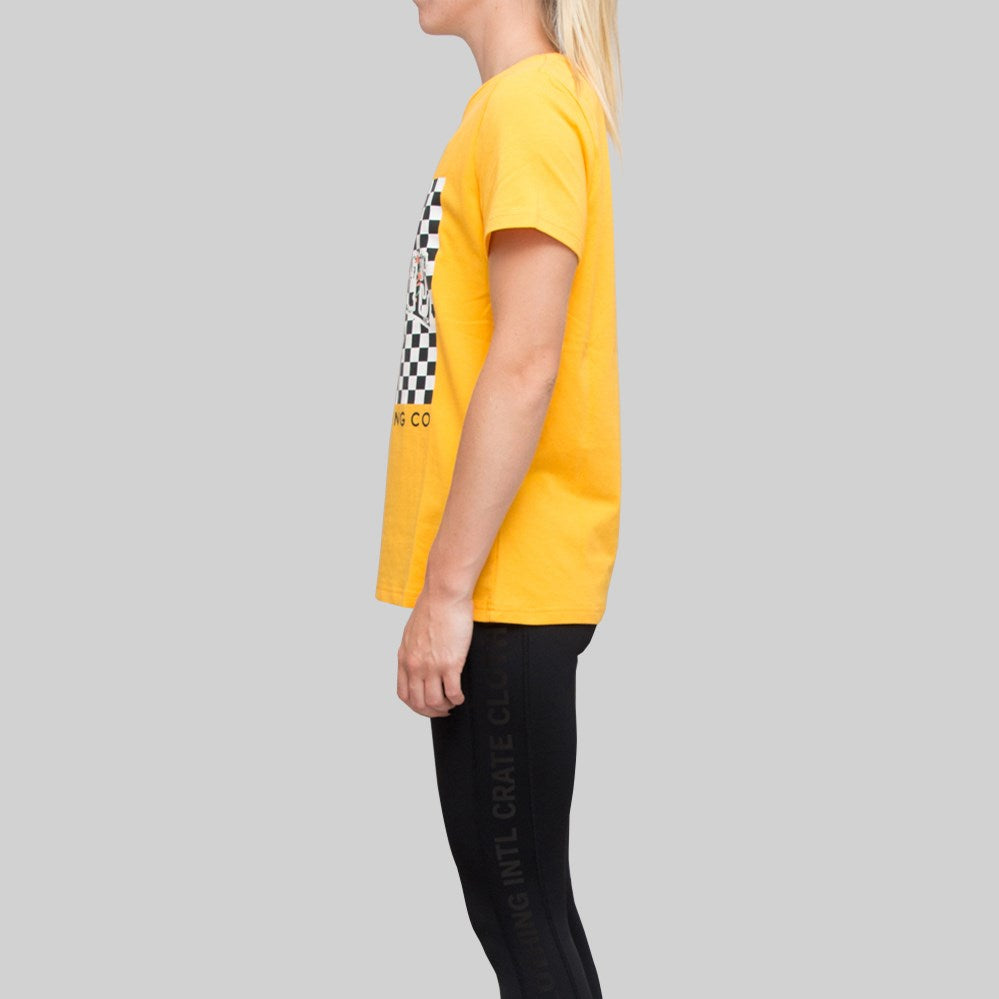 Womens Checkered x Vine T-Shirt Gold