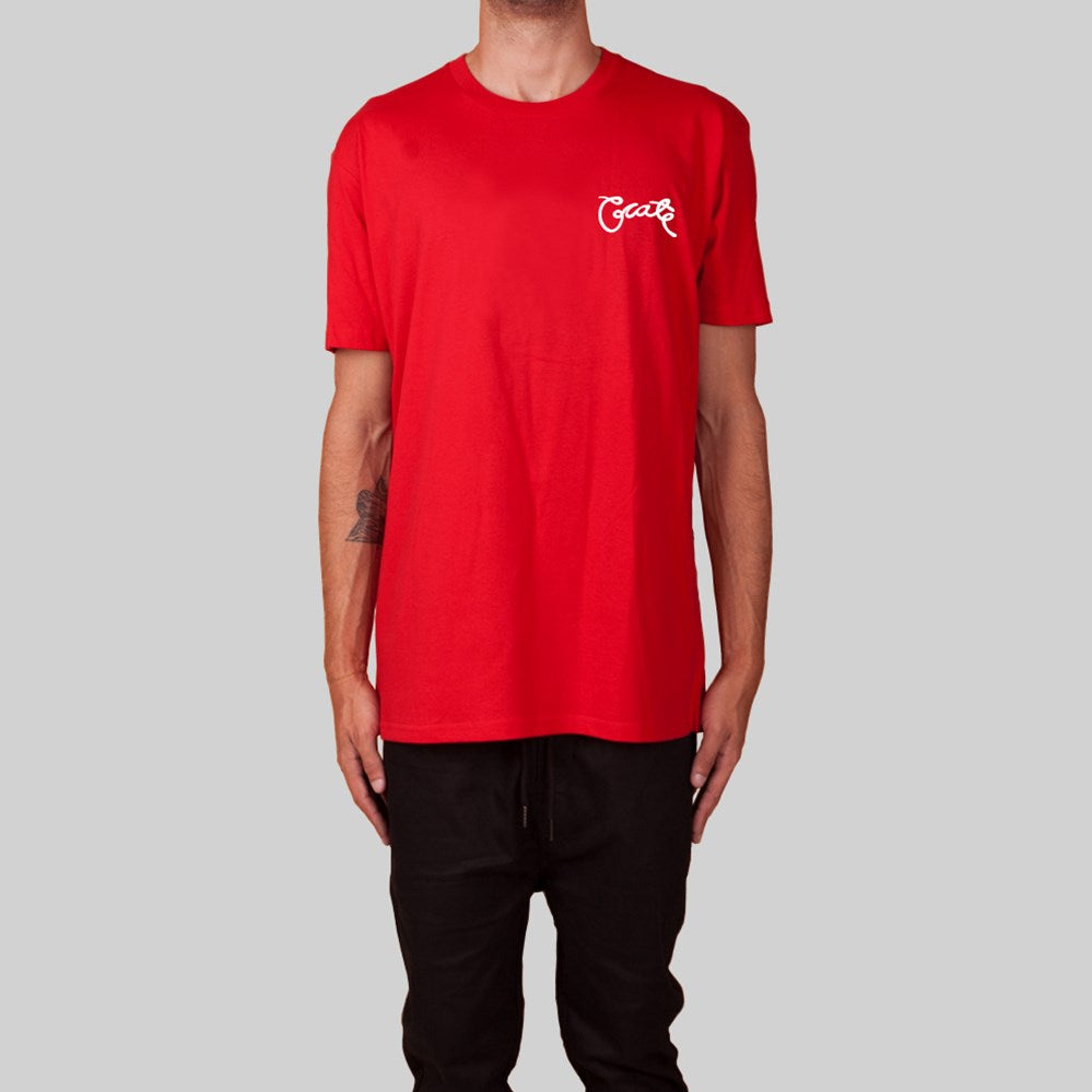 Mens Scripted T-Shirt Red