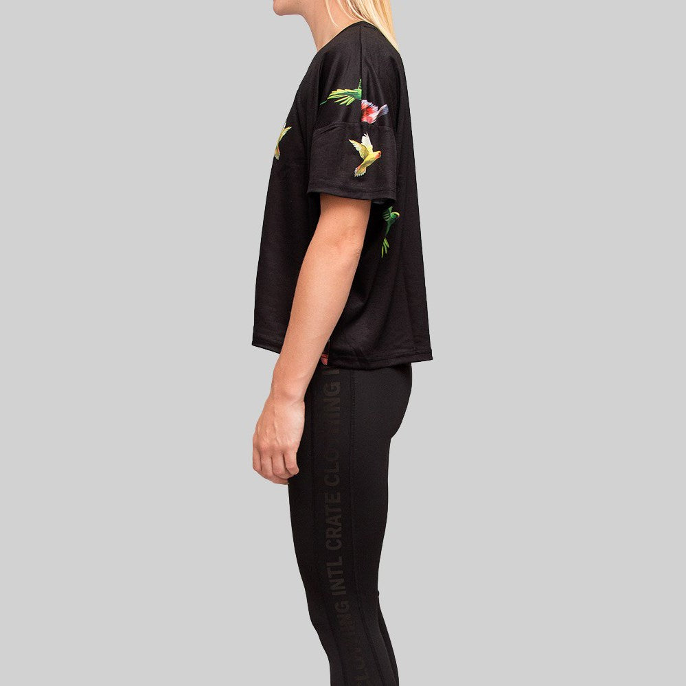 Womens Parrot Oversized Crop T-Shirt Black