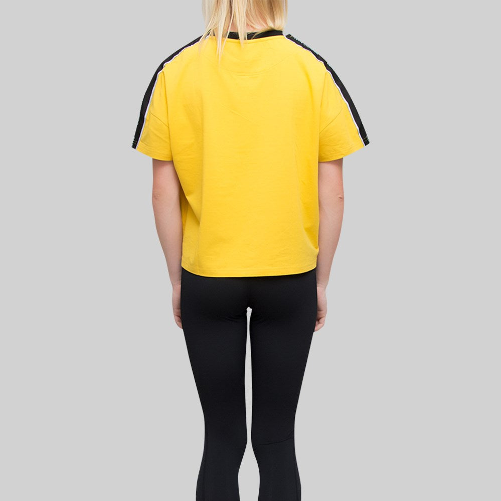 Womens V2 Tape Oversized Crop T-Shirt Yellow