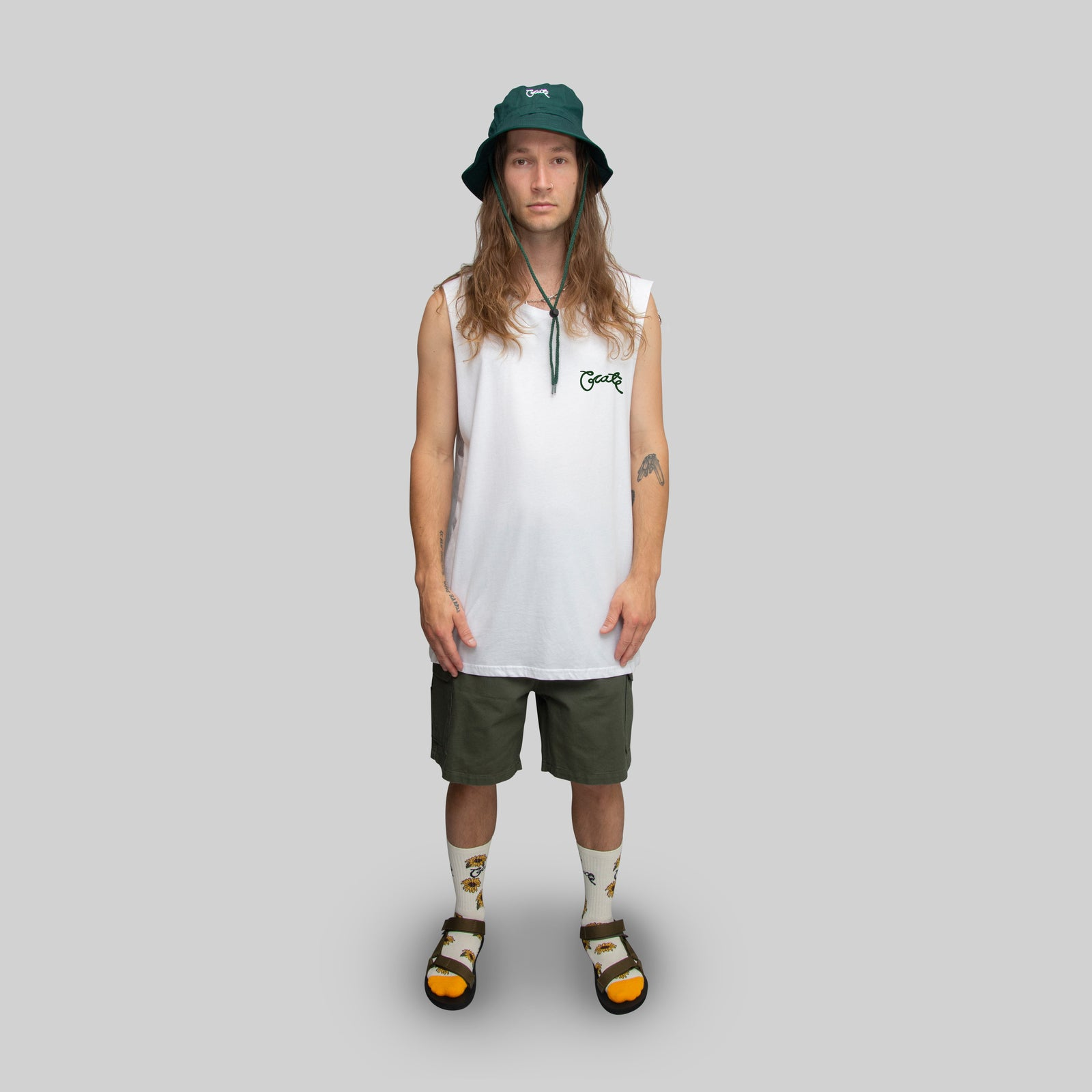 Men's Sunflower Script Muscle Singlet