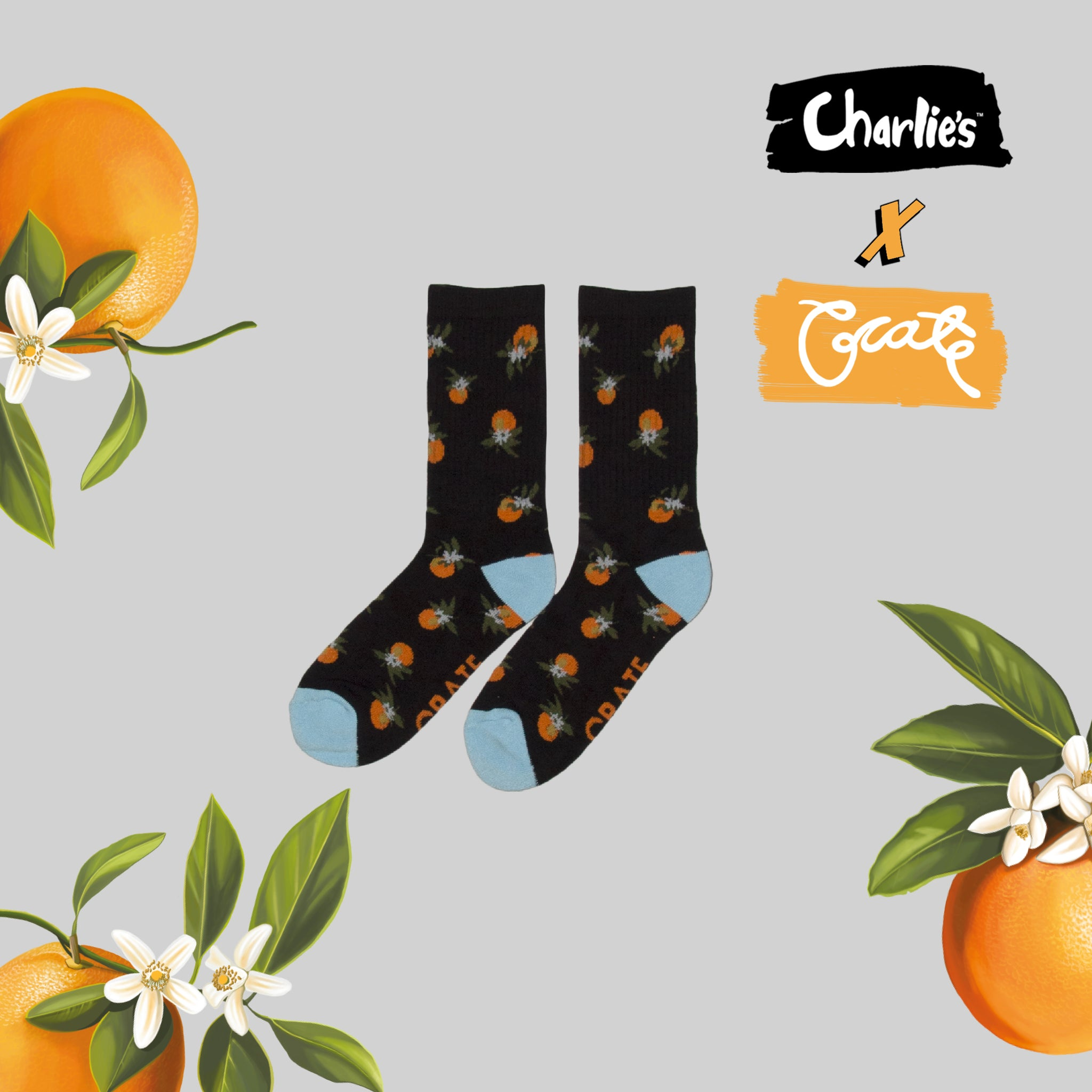 Unisex All Over Oranges Sock - Black