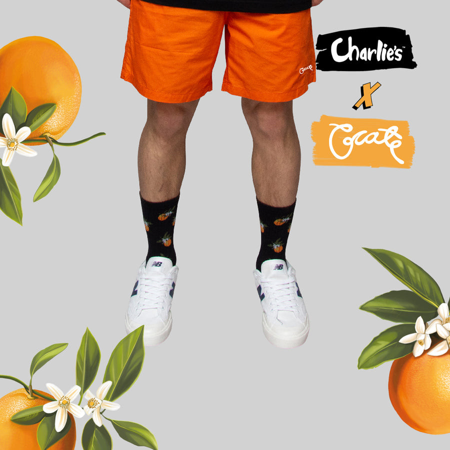 Unisex All Over Oranges Sock - Black (Not Limited)