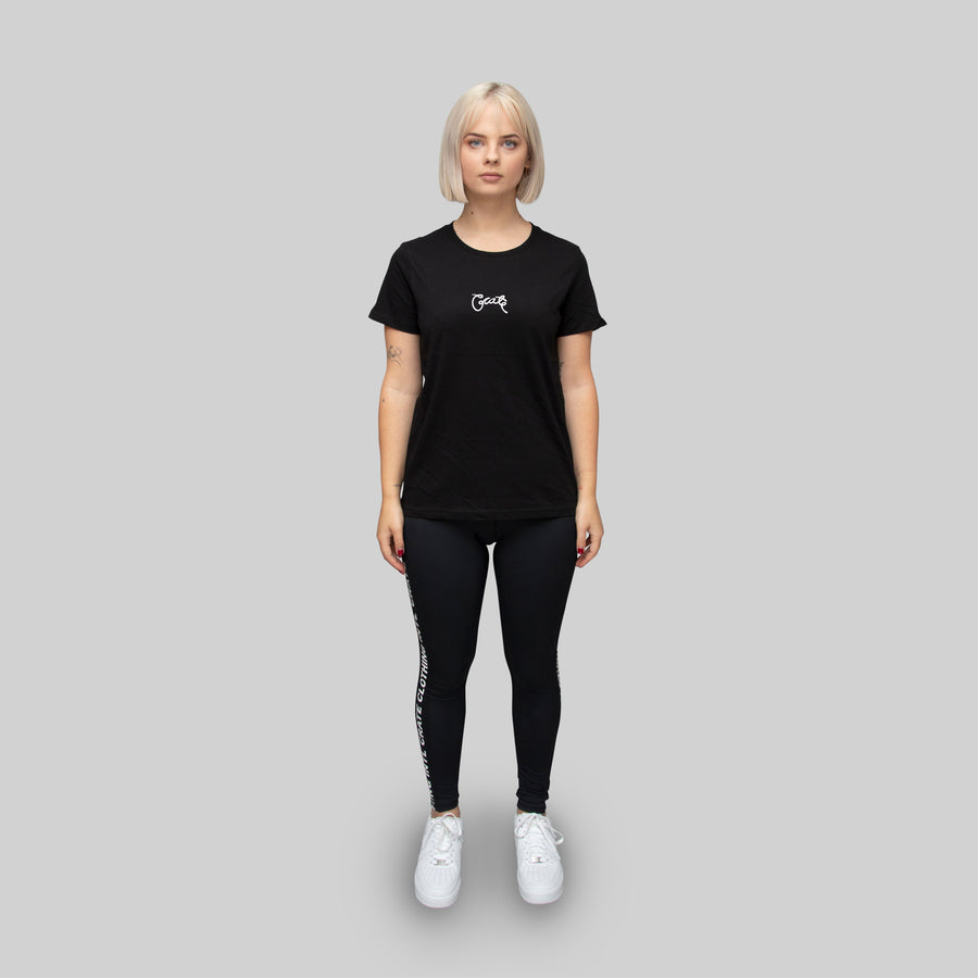 Womens Basic Scripted T-Shirt Black