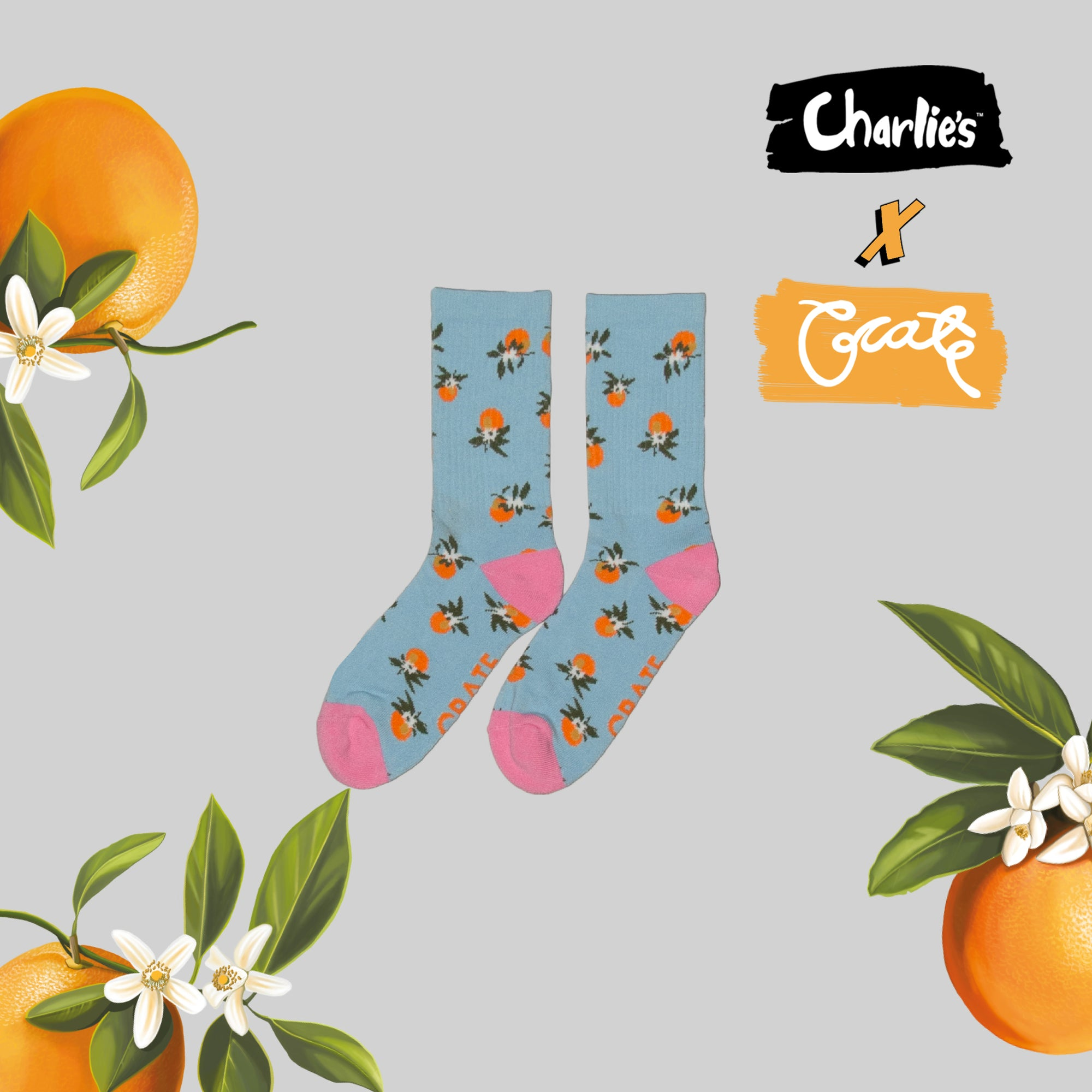 Unisex All Over Oranges Sock - Blue (Not Limited)