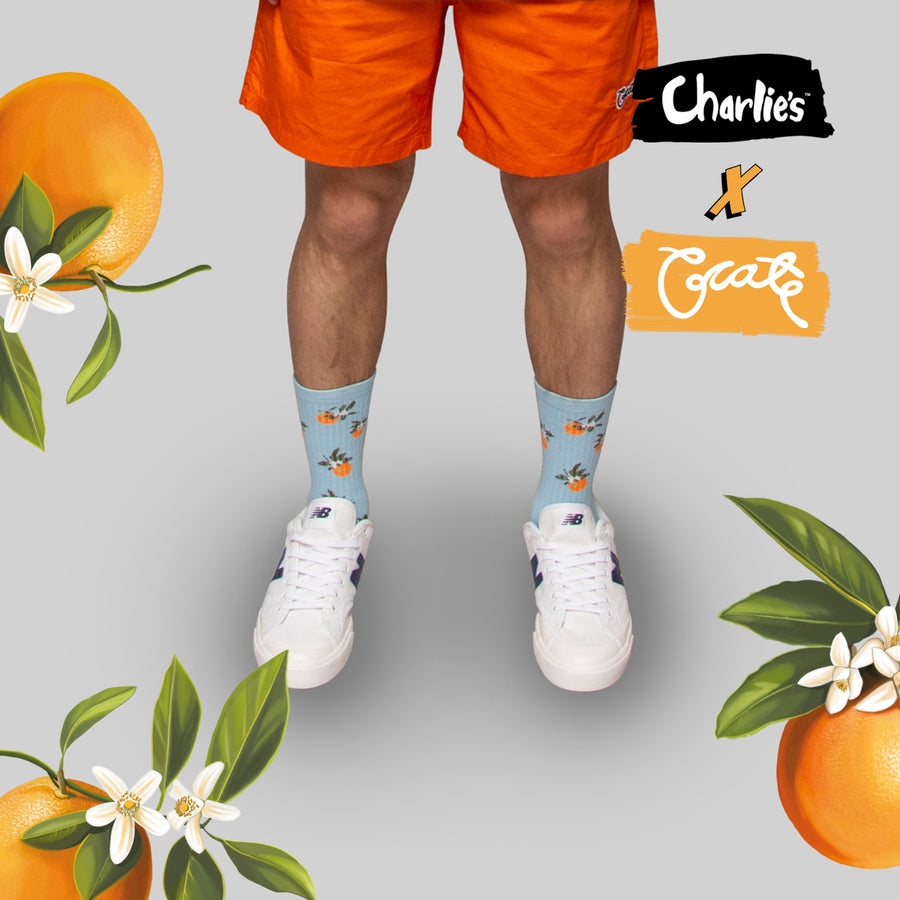 Unisex All Over Oranges Sock - Blue (