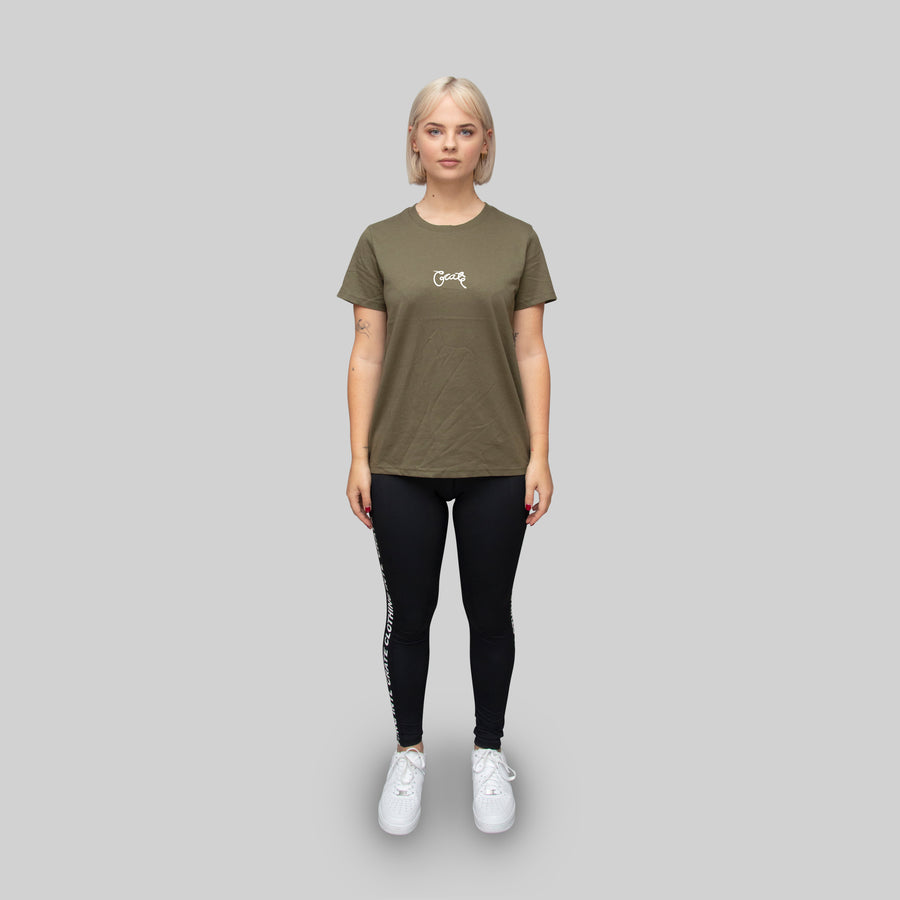 Womens Basic Scripted T-Shirt Khaki