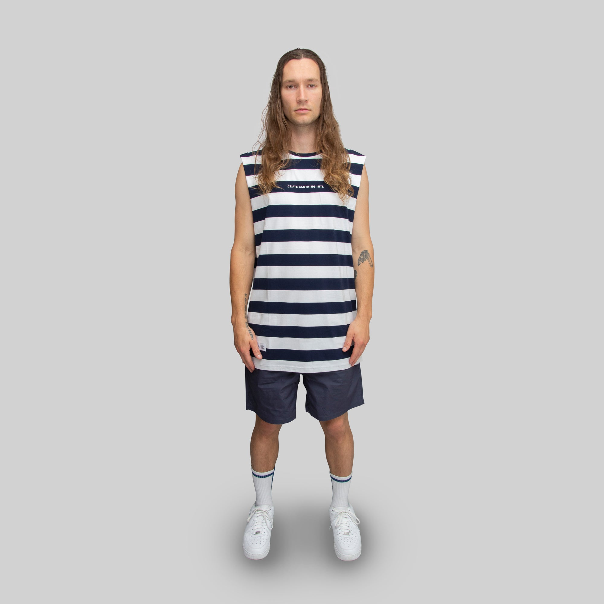 Mens Easy Stripe Muscle Singlet