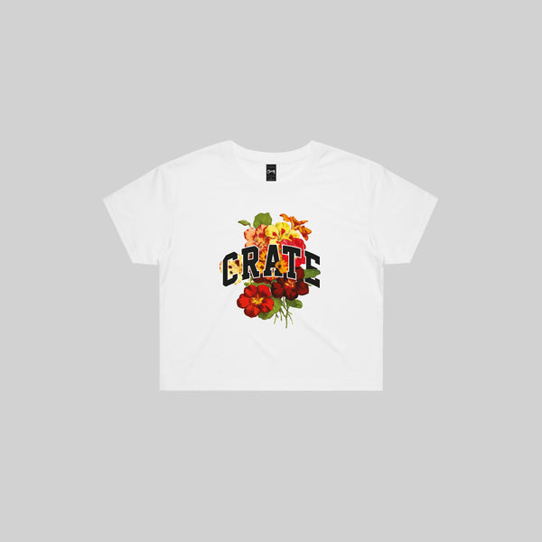 Womens Floral Varsity Cropped T-shirt