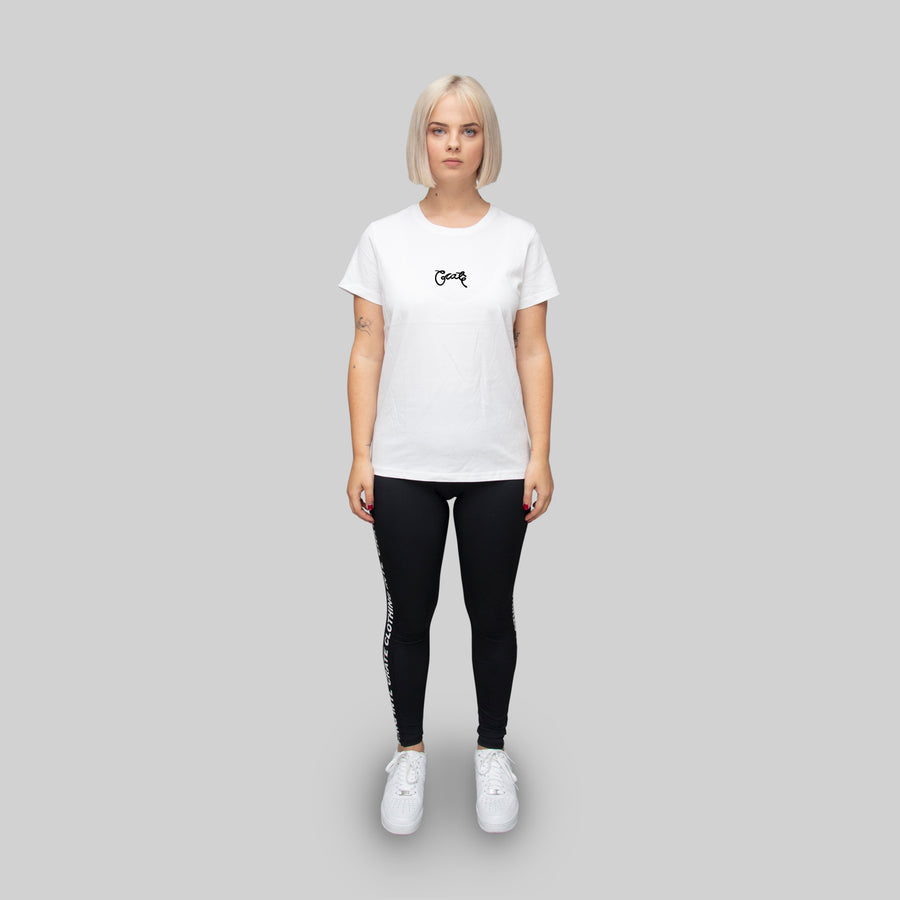 Womens Basic Scripted T-Shirt White