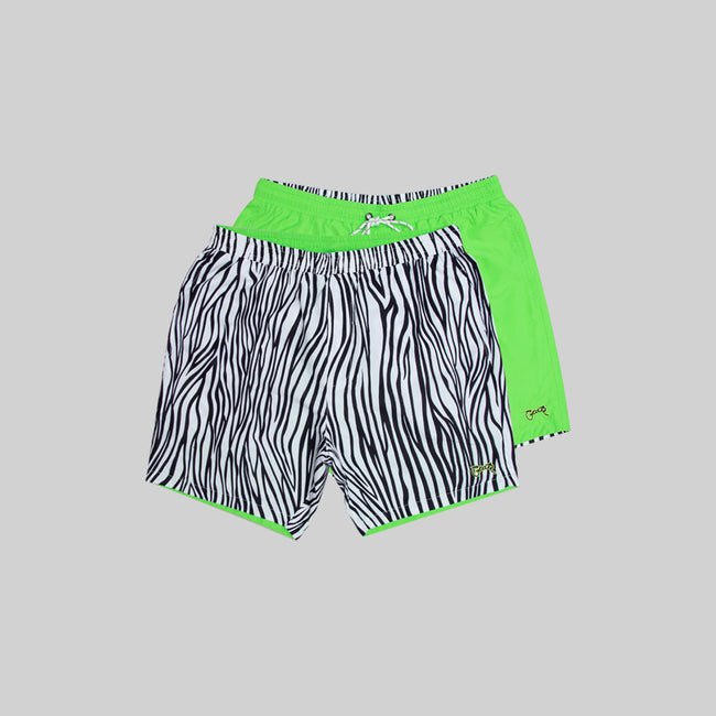 Mens Zebra Reversible Swim Shorts