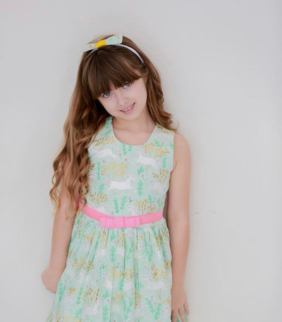 AMANDA DRESS  UNICORN FOREST MINT