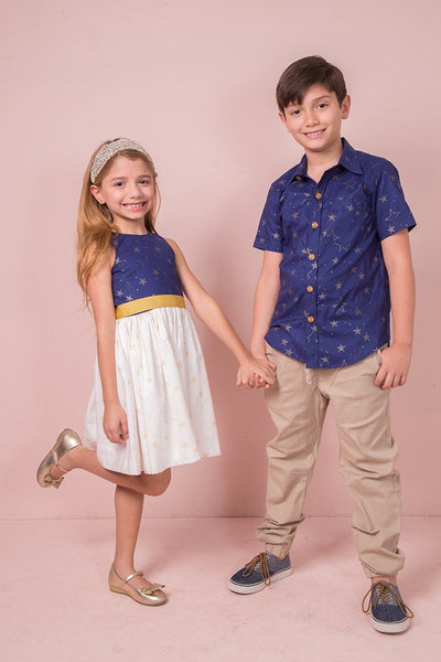 AMANDA DRESS  LUCKY STARS NAVY AND WHITE