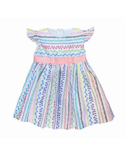 FLOWER STRIPES AMANDA DRESS