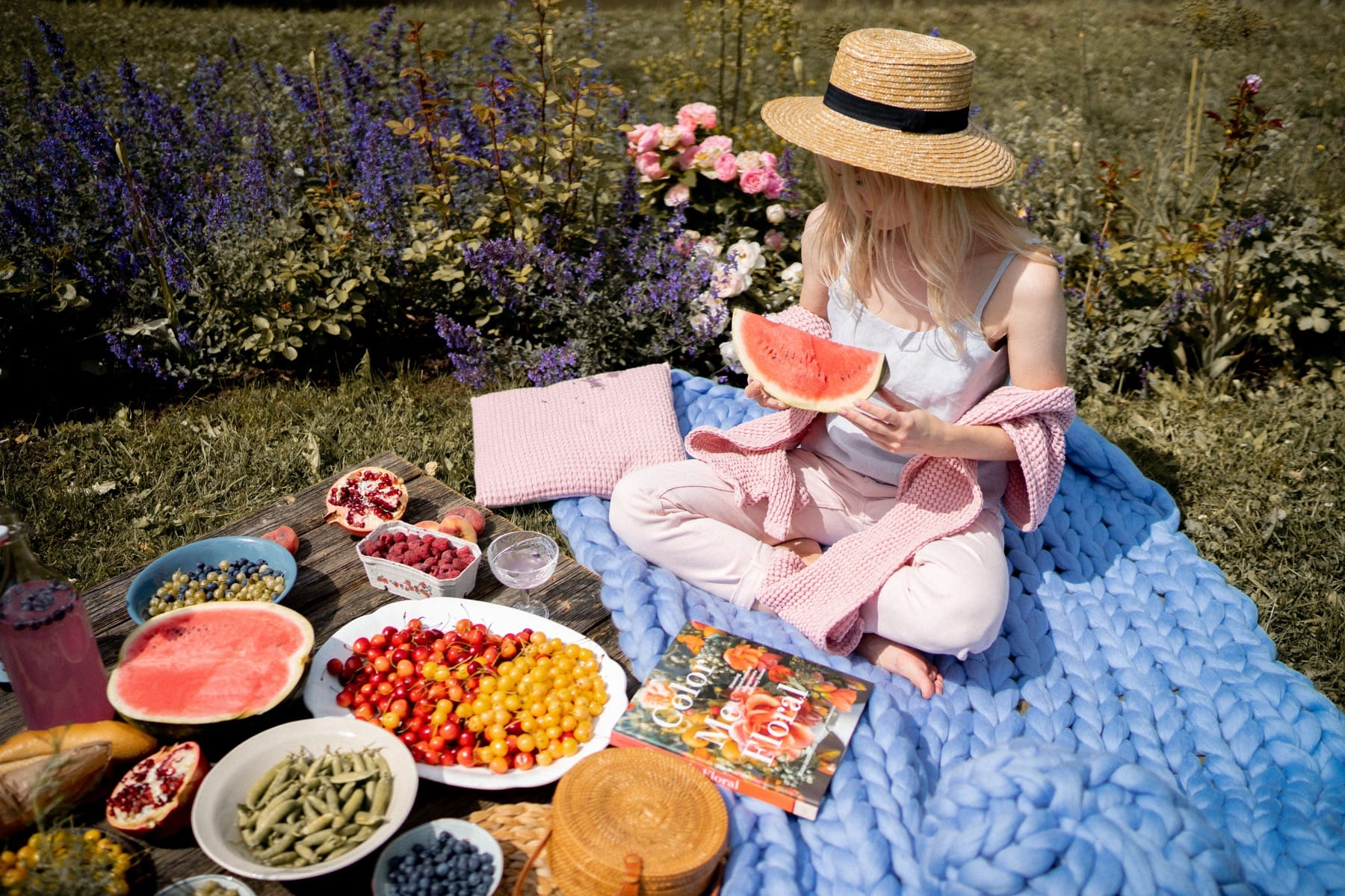 summer picnic with fruits and blue chunky blanket
