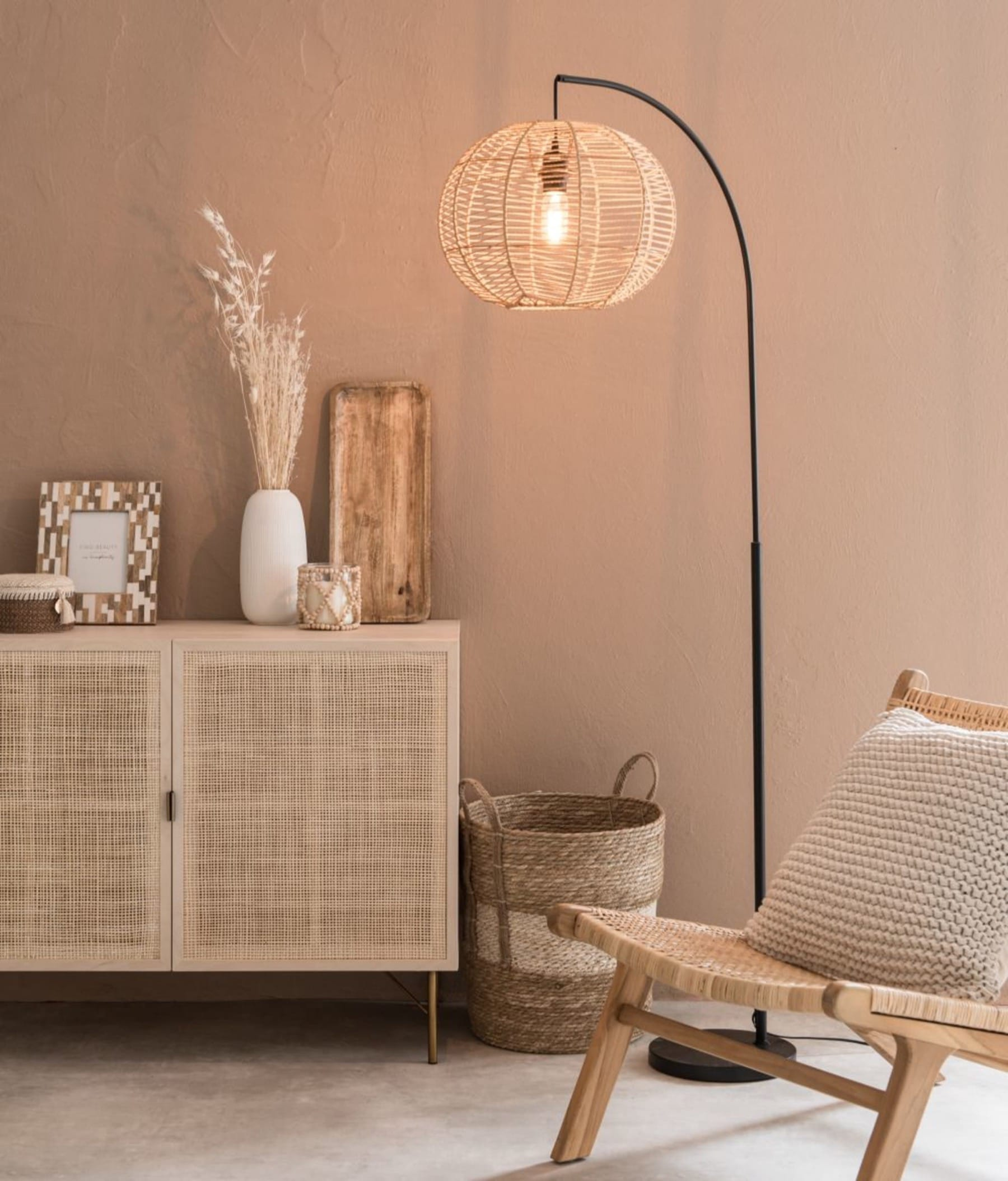beige natural floor lamp